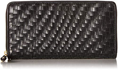 Cole Haan Genevieve Leather Woven Zip Around Continental Wallet, black ()