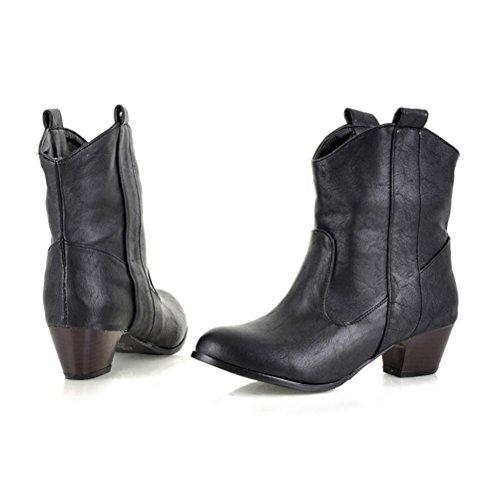 Cowboy Travail Bottes Enfiler Westen Talons Des Aiguilles Chaussures Agodor Femmes Chaudes Pour Noir De Bottines 70XFqx