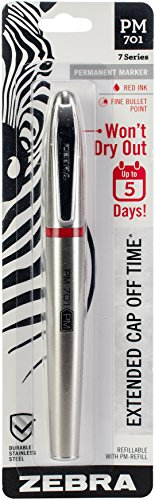 Zebra Pen 65131 Zebra PM-701 Stainless Steel Permanent Marker, Fine Bullet Tip, Red Ink, 120 Hours Cap Off Time, Refillable, 1-Count