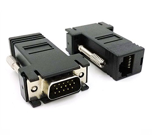 Poyiccot VGA Extender to CAT5 CAT6 RJ45 Cable Adapter, VGA 15 Pin Male to Rj45 Female Jack Coupler Adapter (pack of 2) Brand change to:Poyiccot