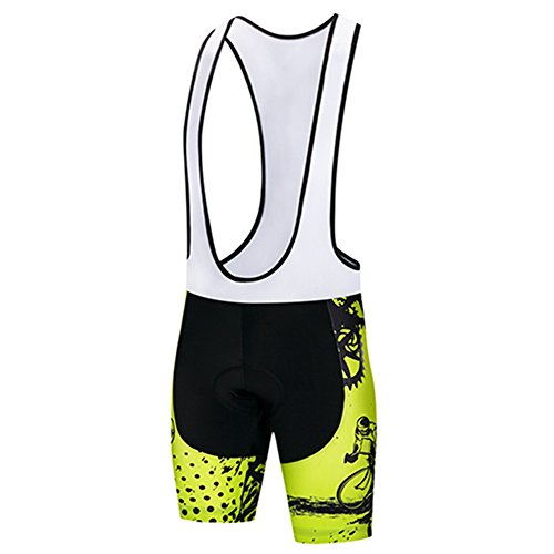 Xinzechen Cycling Bib Shorts Men's Padded MTB Mountain Road Bike Shorts Bicycle Short Pants Quick Dry and Breathable Green Gear Size M