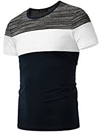 "<span class=""a-offscreen"">[Sponsored]</span>Men's Classic Fit Block Short-Sleeve Contrast Color Crew Neck T-Shirt"