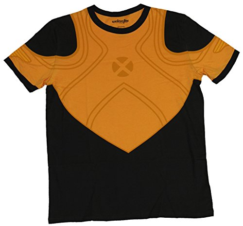[Wolverine (Marvel Comics) Mens T-shirt - Orange New Style Costume Front (Large) Black] (Wolverine Costume Tee)