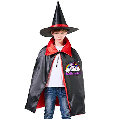 Halloween Children Costume Rainbow Death Metal Rocker Unicorn Wizard Witch Cloak Cape Robe And Hat Set -