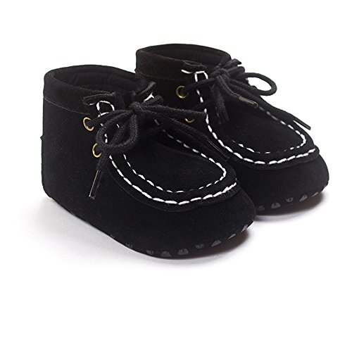 Kuner Baby Boy's Faux Suede Lace-up Prewalker Hi-top Toddler Shoes (12 cm (6-12 Months), Black) (Shoes Top Baby)