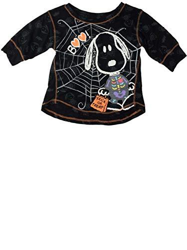 Peanuts Infant Toddler Girls Snoopy Spider Web Boo Halloween Skeleton Tee Shirt Black ()