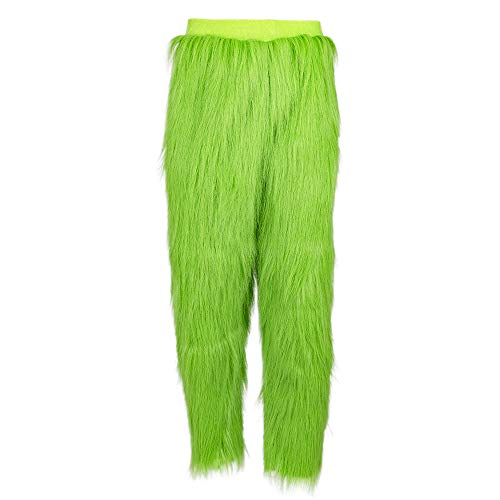 PONGONE Grinch Pants Green Bottoms with Fur Long Trousers Warm Fuzzy Pajama Sleep Pants L -