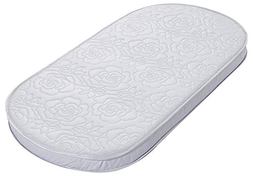 - Big Oshi Waterproof Oval Baby Bassinet Mattress - Waterproof Exterior - Thick, Soft, Breathable Foam Interior - Comfy, Padded Design, Also Fits Portable Bassinets - 16