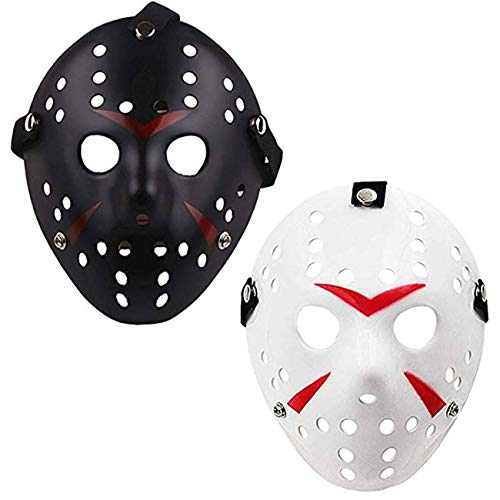 TinaWood Costume Jason Mask Cosplay Halloween Masquerade Party Horror Mask Christmas for Boys Kids, Men and Adults Friday The 13th (Black and White) ()