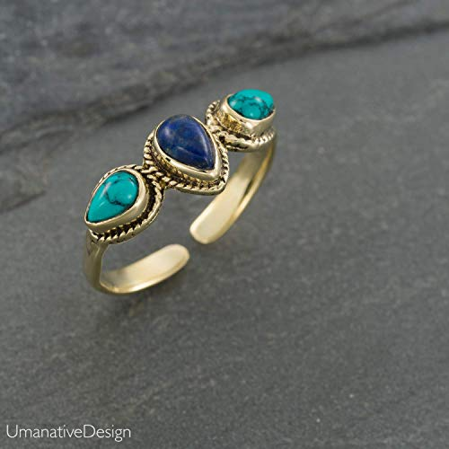 (Boho Gold Brass Ring With Blue Lapis Lazuli and Turquoise Gemstones, Open and Adjustable Tribal Oval Stone Ring, Hippie Ethnic Handmade Natural Stone Ring, Unisex Indian Jewelry For men and women)