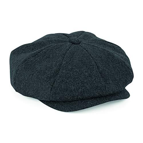 (ASVP Shop Newsboy Cap - Flat Cap - Baker Boy Hat - Gatsby Men's Hat - Peaky B Shelby Cap Charcoal Marl)