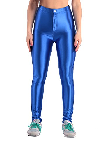 Yomsong Women's High Waist Shiny Satin Disco Pants (X-Large, Royal -
