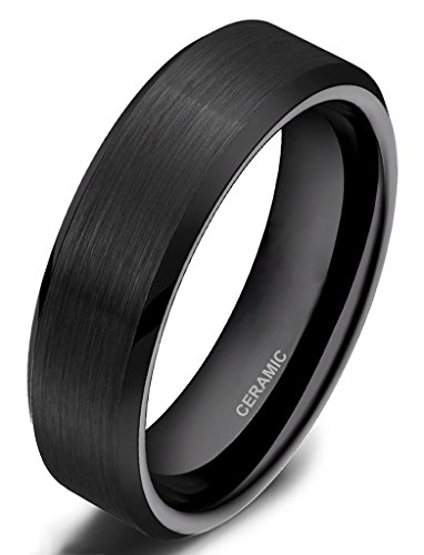 Somen Tungsten 6mm Ceramic Black Brushed Comfort Fit Wedding Ring, 8