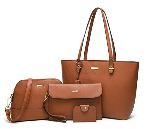 ELIMPAUL Women Fashion Handbags Tote Bag Shoulder Bag Top Handle Satchel Purse Set 4pcs (brown)