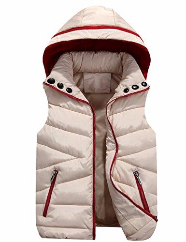Hooded Gilet Neck Jacket Quilt Zip Women's Cotton Sleeveless Padded Outwear High EMMA Khaki Vest Down IwZqUa1x