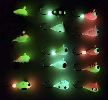 10x Edelstahl-Tintenfisch-Jigs Hartfischen Köder Jig Hook Glow in Dark Tool new