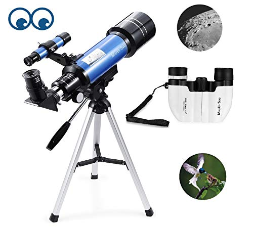 MaxUSee 70mm Refractor Telescope + 8X21 Compact HD Binoculars for Kids and Astronomy Beginners, Travel Scope for Moon Stars Viewing Bird Watching Sightseeing