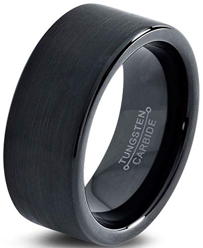 Charming Jewelers Tungsten Wedding Band Ring Black 9mm Men Women Comfort Fit 18k Rose Gold Flat Cut Brushed Polished