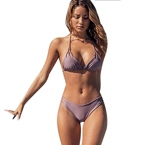 0bc72191e86 Womens Sexy Two Piece Swimsuits Solid Color Lace Up Halter Padded Triangle Bikini  Swimsuit Kaicran (