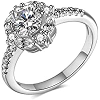 rongji jewelry Cubic Zirconia Wedding Rings - Gorgeous 2.4ct Round Solitaire Rings with Exquisite Carving for Women Engagement, Memorable Gifts for Her