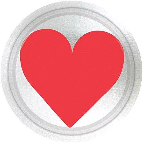Amscan 549619 Key to Your Heart Metallic party-plates, One Size, Multicolor ()