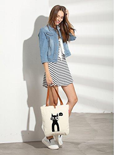 So'each Women's Cute Cat Hello Graphic Top Handle Canvas Tote Shoulder Bag