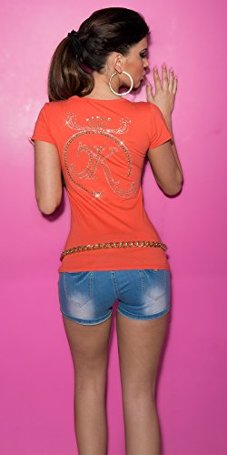 Camiseta para mujer de manga corta, top con motivo de estrás, talla única (32-38) Coral