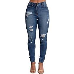 VICVIK Women Knee Skinny Denim Distressed Ripped Boyfriend Jeans