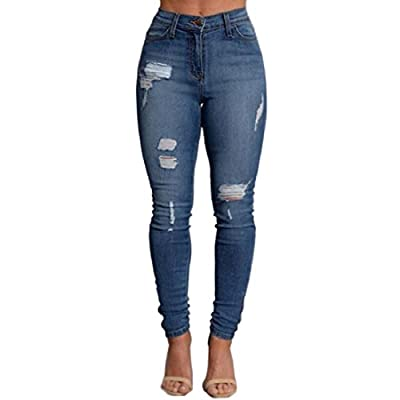 VICVIK Women Knee Skinny Denim Distressed Ripped Boyfriend Jeans