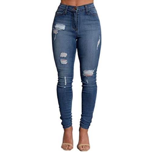 VICVIK Woman Knee Skinny Denim Distressed Ripped Boyfriend Jeans (XL)