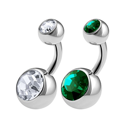 2PCS 316L Surgical Steel Short Belly Button Rings Studs 14 Gauge 1/4 6mm Emerald Crystal Balls Navel Jewelry 0570 - Emerald Belly Button Ring