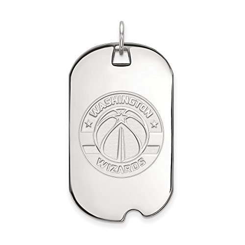 NBA Washington Wizards Large Dog Tag Pendant in Rhodium Plated Sterling Silver by LogoArt