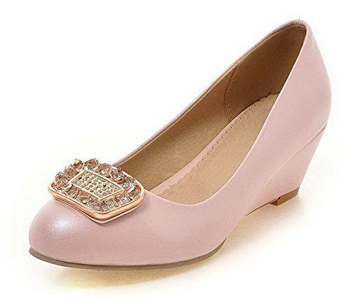Damen Hoher Absatz Rein Ziehen auf Weiches Material Spitz Zehe Pumps Schuhe, Pink, 43 VogueZone009