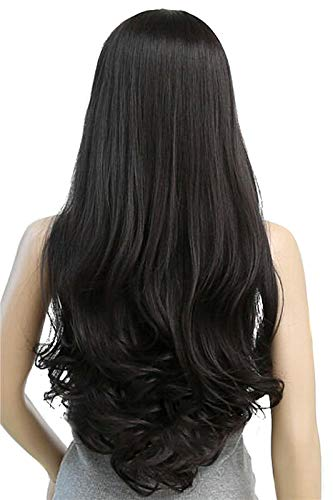 Light Dark Brown Black 3 Colors 75Cm Women Wigs Long Loose Wave Nautral Cosplay Heat Resistant Synthetic Full Hair Brownish Black 30inches ()