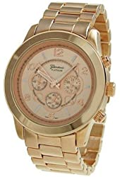 Geneva Platinum 9158 Women's Decorative Chronograph-style Link Watch-RGOLD