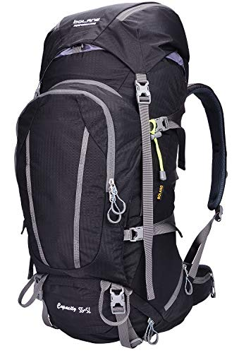 BOLANG Internal Frame Pack Hiking Daypack Outdoor Waterproof Travel Backpacks 8715 (Black, 55L)