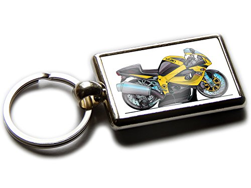 (Koolart Cartoon Motorbike Suzuki GSXR750 Chrome Keyring Picture Both Sides (Yellow))