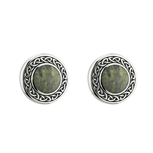 Connemara Marble Earrings Round Studs Sterling Silver Made in Ireland