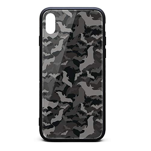 Srel rtrterwe Phone case for iPhone X Black Gray camo bat Halloween Bumper Matte TPU Protective Back Mobile Cover Cell Phone Holder]()