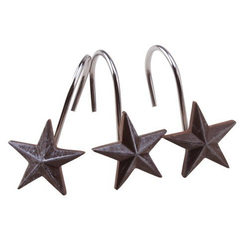 Dallas Stars Drapes (Shower Curtain Hooks, AGPtek 12PCS Anti Rust Decorative Resin Hooks for Bathroom, Baby room, Bedroom, Living room Decor (Star))