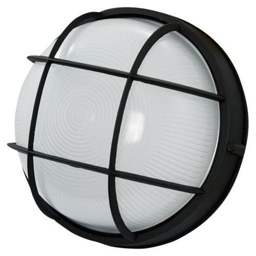 Efficient Lighting EL-120L-123-BLK Expedition Outdoor Flushmount Die Cast Aluminum Powder Coated Black Finish with Ribbed Glass Energy Star Qualified
