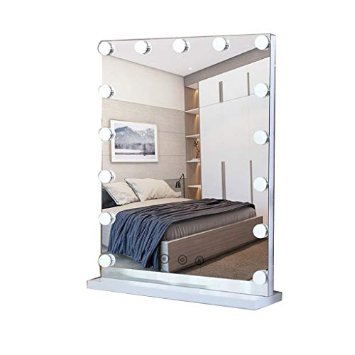Selm Makeup Mirror with Light LED, Rectangle with Touch Screen and Dimmable Have 15 Dimmable Light Bulbs Suitable for Bedroom, Bathroom, Dressing Table (color : White, Size : 40cmX52cm)