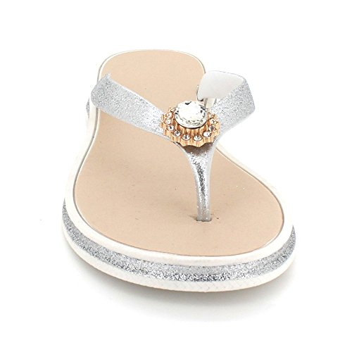 Diamante léger Post Poids Sandales Été Décontractée Chaussures Soir des Femmes Doux Dames Pantoufle Plat Blanc Taille Toe Eq1OvwY