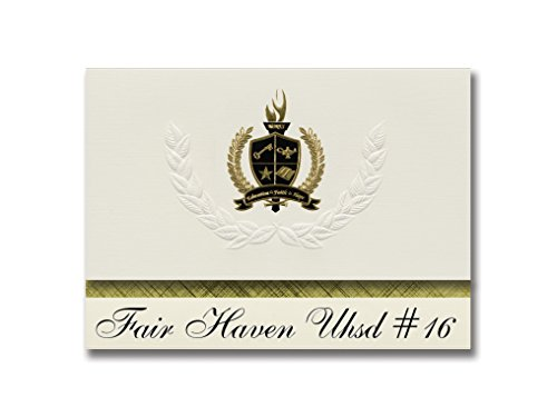 Fair Haven Uhsd #16 (Fair Haven, VT) Graduation Announcements, Presidential style, Elite package of 25 with Gold & Black Metallic Foil seal - Haven Tissue