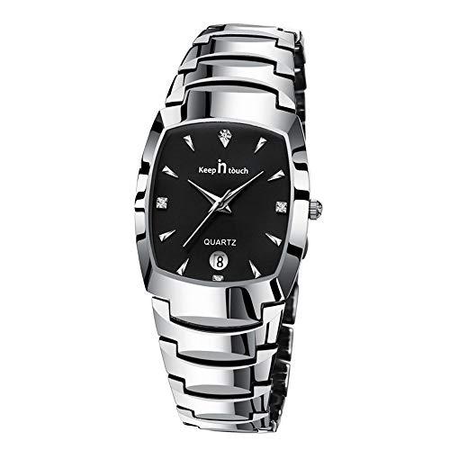Minimalist Rhinestone Calendar Square Quartz Wrist Watches Alloy Strap Casual Watches Men, Black