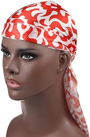 Flame Print Men Silk Durag 360 540 720 Long Tail Straps Wave Cap
