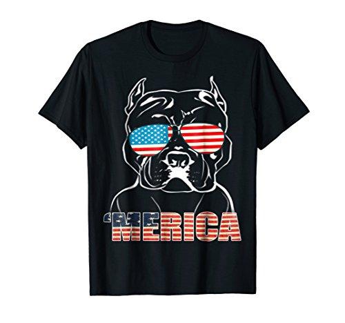 Patriotic Dog Pitbull Bully USA T Shirt American Flag Tee