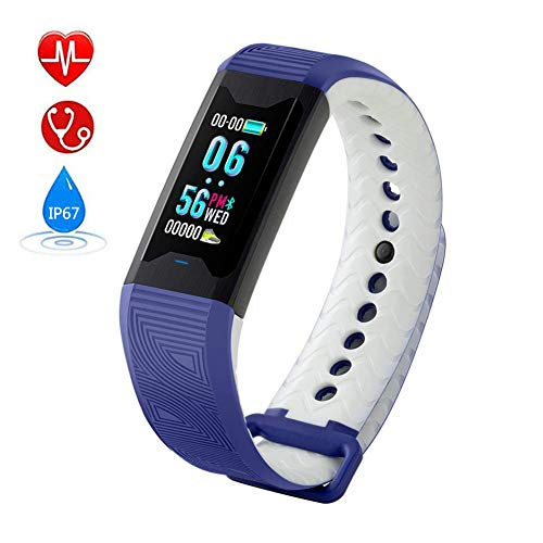 Tomorrow Sun Shine Color Screen Fitness Tracker Smart Watch Wearable Smart Wristband Heart Rate,Blood Oxygen,Sleep Monitor IP67 Waterproof Pedometer Bluetooth Sports Bracelet for Women,Men,Kids,Blue