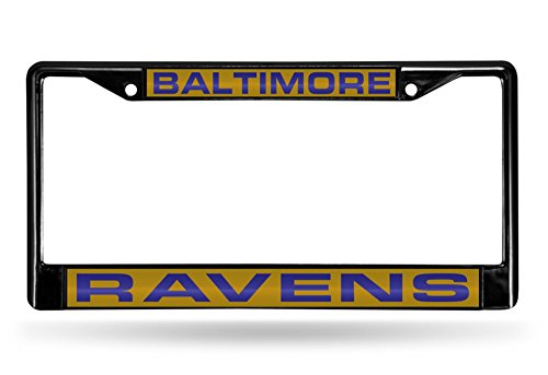 Rico Industries NFL Baltimore Ravens Laser Cut Inlaid Standard Chrome License Plate Frame, 6