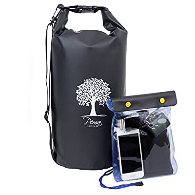 Pema Living Waterproof Dry Bag Backpack - 10L or 20L - BONUS FREE WATERPROOF POUCH - Ultimate Dry Sack for Backpacking - Lightweight Watertight Compression Duffle Bags - Dry Gear Sacks for Kayaking, Boating, Fishing, Hiking, Camping & Travel